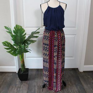 Navy blue and multicolored maxi dress